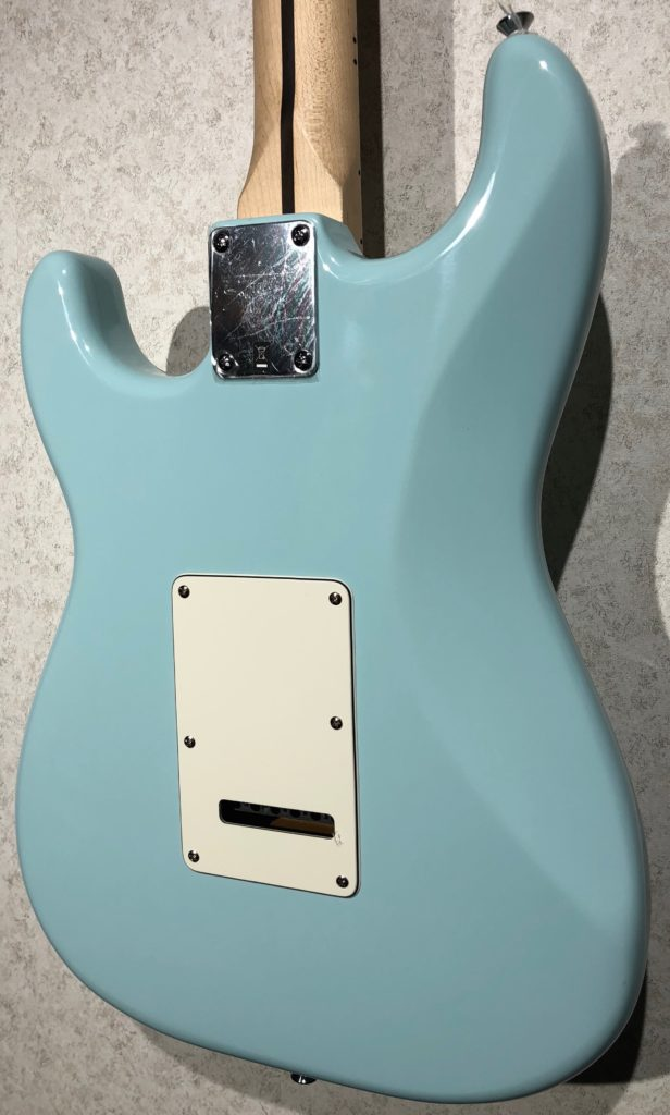 squier deluxe strat daphne blue body back right legacy music. Black Bedroom Furniture Sets. Home Design Ideas